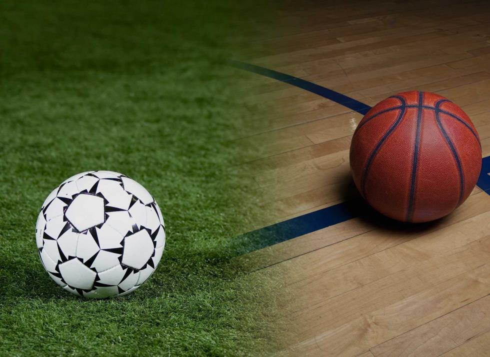 Background image of soccer ball and basketball